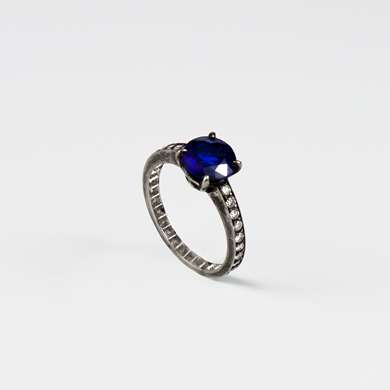 Platinum, sapphire and diamond ring