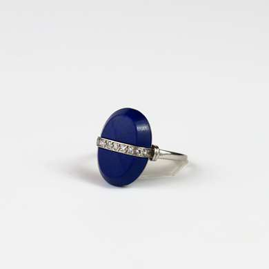 lapis lazuli and diamonds platinum ring
